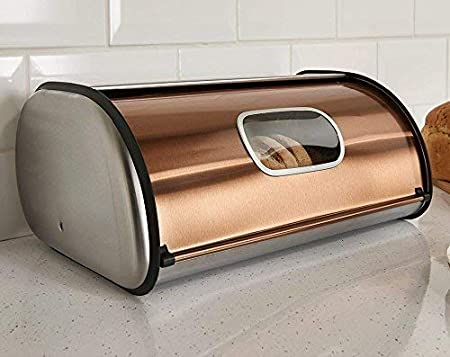 Brushed Stainless Steel Rolltop 2-Loaf Capacity Bread Box 16.5 X 10 X 8