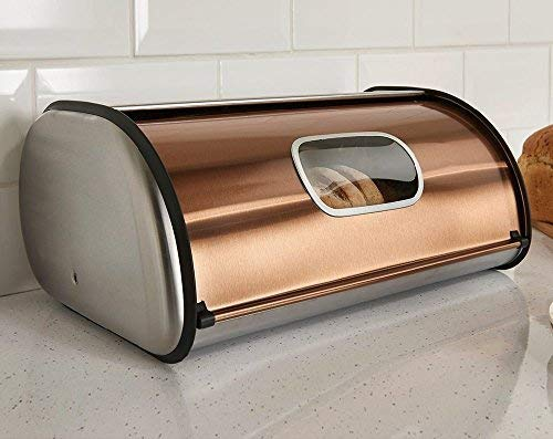 "Brushed Stainless Steel Rolltop 2-Loaf Capacity Bread Box, 16.5"" X 10"" X 8"""