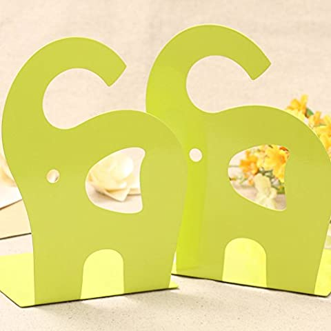 B&Y 1 pair Cute Elephant Nonskid Bookends Art Bookend (Green)