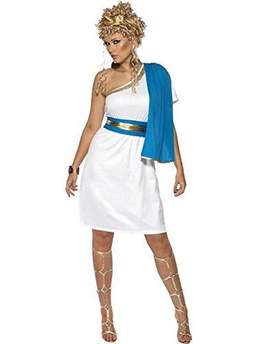 Greek And Roman Costumes Uk (Smiffys Womens Roman Greek White Blue Toga Halloween Costume L)