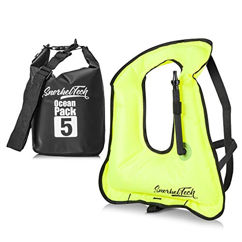 SnorkelTech Inflatable Snorkel Vest Kids - Waterproof Dry Bag Included - Small Size Life Jacket - Children Below 12 ()