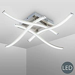 B.K.Licht – Elegant Curved Design LED Ceiling Light, 4x 3.4W 1400lm LED Boards included, brushed nickel