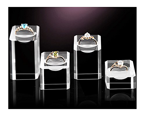 Acrylic Ring Display Stand Holder for Engagement Ring Fine Jewelry Display Store Gallery (Set of - Stores Gallery