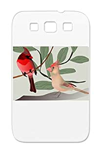 Anti-shock Rouge Birds Oiseau Animals Nature Northern Cardinal Brid Black For Sumsang Galaxy S3 Case Cover