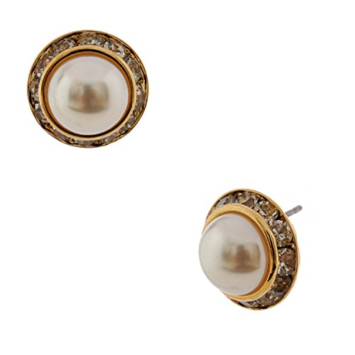(Topwholesalejewel Wedding Earrings Gold Crystal Rondelle Circle Round Dome Pearl Stud)