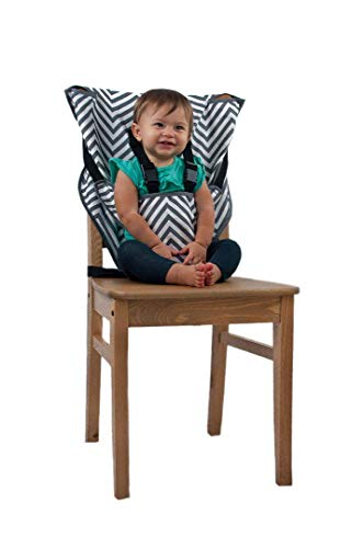 Portable High Chair (Chevron) - Quick, Easy, Convenient Cloth Travel High Chair Fits in Your Hand Bag for a Happier, Safer Infant/Toddler ()