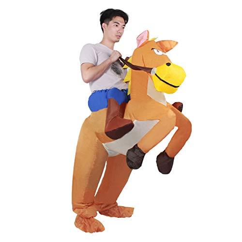 KMIKE Inflatable Costume Adult (Kid), Dinosaur T-REX Inflatable Costume Suit Halloween Costumes … (Horse Adult) ()