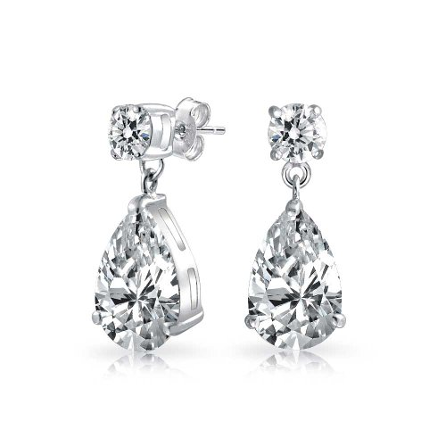 Bridal Cubic Zirconia Solitaire Teardrops CZ Pear Shaped Drop Dangle Earrings For Women For Prom Sterling Silver