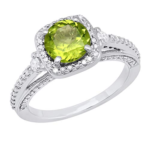 14K Round 7.5 MM Peridot & White Diamond Ladies Halo Engagement Ring, White Gold, Size 7
