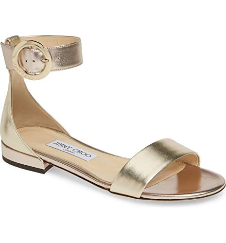 JIMMY CHOO Jaimie Ankle Strap Sandals Size 40 Gold