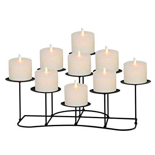 Only-us Black Metal Candelabra for Fireplace/Table/Wedding Decoration Iron Candlestick Holders of 9 DIY Candle Holders