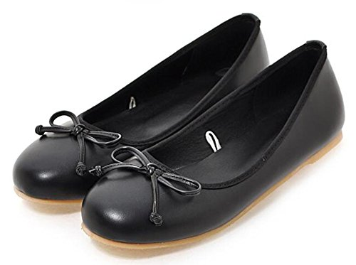 Easemax Womens Cute Bowknot Self-tie Low Cut Flats Dance Shoes Black 16W0xP5oD