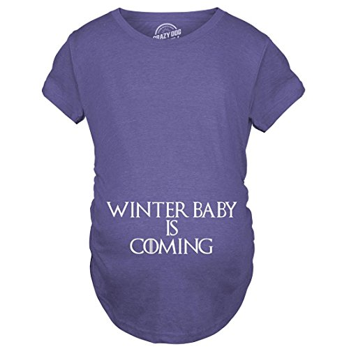 Maternity Winter Baby is Coming T Shirt Geek Novelty Pregnant Shirts Funny (Heather Purple) -S by Crazy Dog T-Shirts (Image #4)