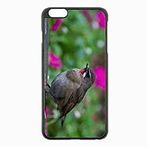iPhone 6 Plus Black Hardshell Case 5.5inch - gray focus hemp wood flowers colorful blur Desin Images Protector Back Cover