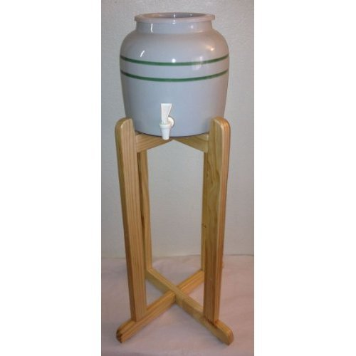 Ceramic Green Stripes Water Dispenser and Natural Wood Stand
