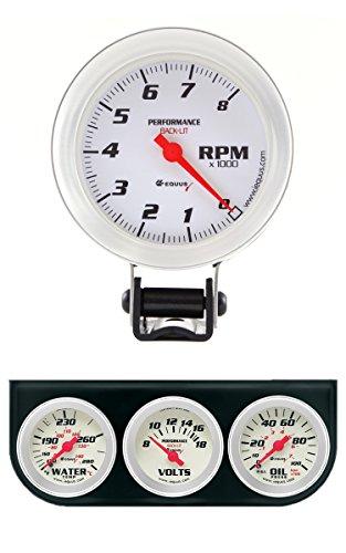 Equus 8068 Tachometer - White Dial with Triple Gauge Kit ()