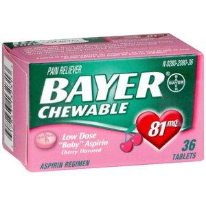 Special pack of 5 BAYER ASPIRIN Tab CHILD CHERRY 36 Tablets (Cherry Aspirin)