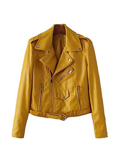 Delgado Pu Moto Biker Jacket Ajuste Saideng Mujer Cuero Zip Amarillo Chaqueta OqSURF
