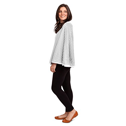 360° FULL COVERAGE Nursing Cover for Breastfeeding - Luxurious, Soft Breathable Cotton in Poncho Style (Gray Stripe) by EN Babies (Image #6)