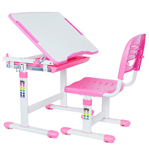 VIVO Height Adjustable Childrens Desk & Chair Set | Kids Interactive Work Station Pink (DESK-V201P)