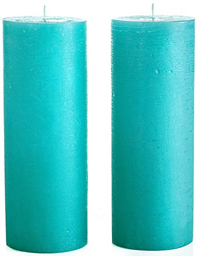 Melt Candle Company Set of 2 Turquoise/Teal Unscented Pillar Candles 3 x 8 Inch Fragrance-Free Handpoured for Weddings, Home Decoration, Restaurants, Spa, Smokeless Cotton Wick