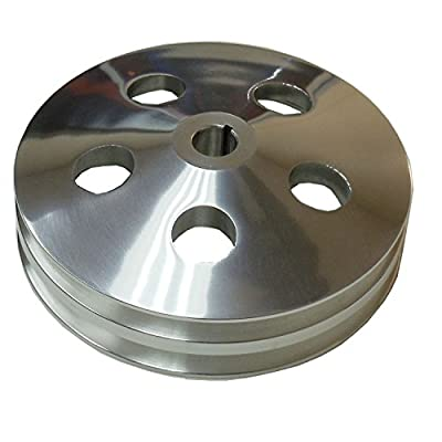 Polished Aluminum Double 2 Groove Power Steering Pump Pulley For GM Chevy SBC BBC: Automotive
