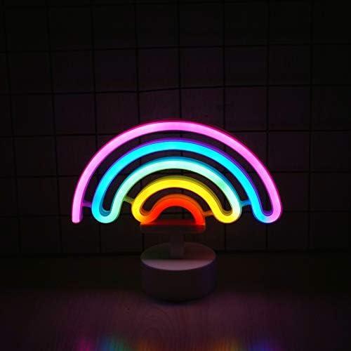 Rainbow Neon Light, Cute Colorful Neon Rainbow Sign, Battery or USB Powered Night Light as Wall Decor for Kids Room, Bedroom, Christmas, Festival, ...