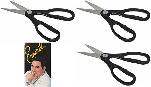 Emeril Stainless Steel Kitchen Shears, Black Heavy Duty Scissors with Built-In Nutcracker (3 ()