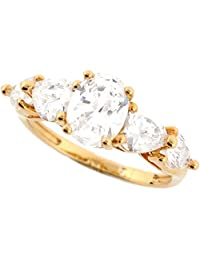 14k Real Solid Yellow Gold CZ Five Stone Beautiful Ring