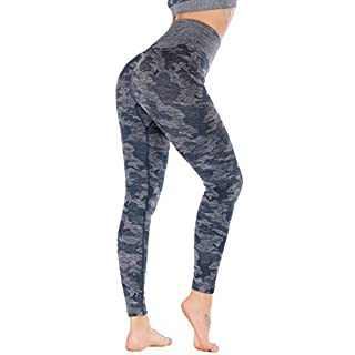 RUNNING GIRL Camo Leggings Gym Scrunch Butt Seamless High Waisted Tummy Control Stretch Workout Yoga Pants for Women(CK2365.Blue.L)