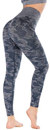 RUNNING GIRL Camo Leggings Gym Scrunch Butt Seamless High Waisted Tummy Control Stretch Workout Yoga Pants for Women(CK2365.Blue.L)