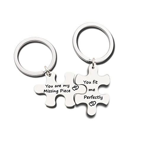 Couples Jewelry Accessories Silver Key Chains Rings Keychain Valentines Gifts for Husband Wife Boyfriend Girlfriend (3)
