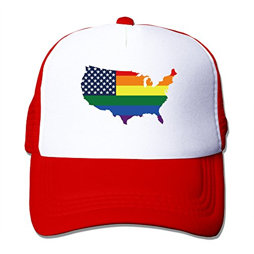 LGBT Flag Map Of U.S. Red Adjustable Snapback Mesh Hat (Lesbian Halloween Jokes)