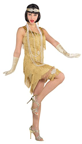 Cheap Flapper Dress (Womens Standard Size Roaring 20's Champagne Flapper Dress Costume by)