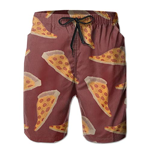 Pizza Red Men's Beach Boardshort Summer Casual Swim Trunks with Pockets ()