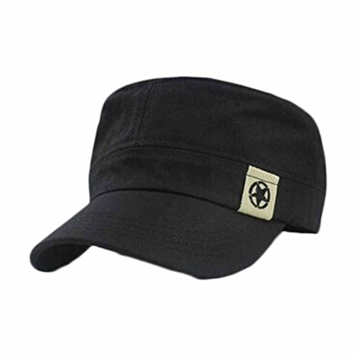 BCDshop Unisex Flat Roof Hat Military Cadet Cap Fashion Baseball Cap Classic Vintage Polo Dad Hat (Black) (Vintage Coat Pony)