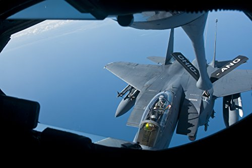 Home Comforts Laminated Poster Members of The 121st Air Refueling Wing refuel an F-15E Strike Eagle from The 4th Fighter Wing at Se Vivid Imagery Poster Print 24 x 36 ()