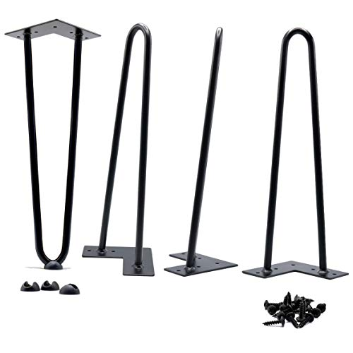 14 Inch Hairpin Legs 8.35 lbs(Ours) v 4.95 lbs(Others) True Heavy Duty and Double Weld 1/2 v 3/8 inch Diameter Heavy Duty Free Rubber Feet and Screws Included by Homeland Hardware (Bases Only Table Coffee)