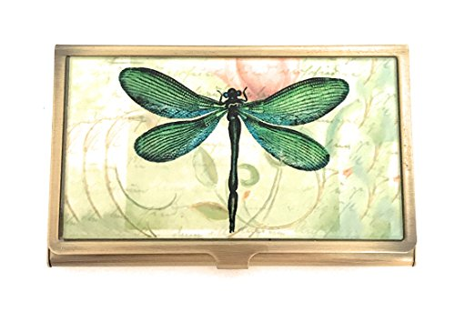 Value Arts Green Dragonfly Business Card Case, Brass Glass -