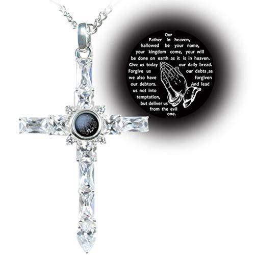 VISILOVE Lord' s Prayer Praying Hands Cross Necklace Pendant (Diamond White)