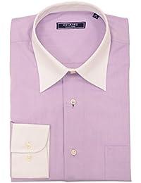 Classic Fit Light Purple Fine Combed Cotton Contrast Collar Dress Shirt