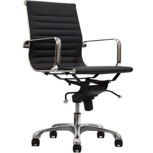 Contemporary Office Collection (Manhattan Comfort Delancey Collection Contemporary Adjustable Seating with Ribbed Pattern Swivel Office Chair, Black)