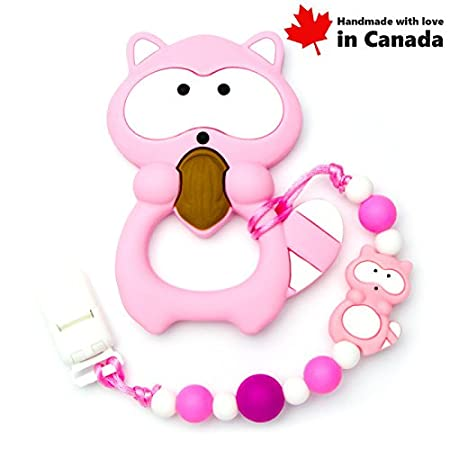 Teether Raccoon With Pacifier Clip (Turquoise)/High Quality Silicone, Handmade in Canada Teething Toys Market