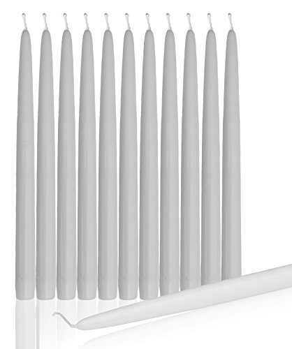 Dripless Taper Candles 10' Inch Tall Wedding, Home & Holiday Decorations Candle Set Of 12 (WHITE)