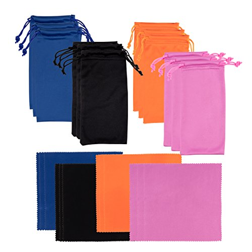 Microfiber Bag - Juvale 12 Pack Microfiber Cloth and Microfiber Pouch - Eyeglass Cloth and Matching Microfiber Bag, Black, Blue, Orange, Medium Violet red
