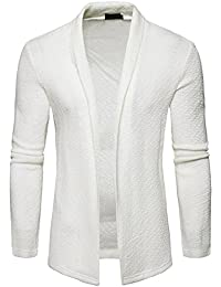 Mens Casual Long Hem Open Front Slim Sweater Cardigan