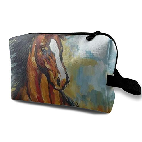 Wodehous Adonis Horse Pastel Painting Abstract Animal Large Travel Cosmetic Pouch Bag Storage Bags Portable with Zipper White