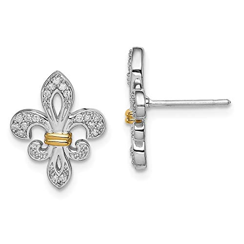 925 Sterling Silver 14k Yellow Gold Diamond Fleur De Lis Post Stud Earrings Fine Jewelry Gifts For Women For Her