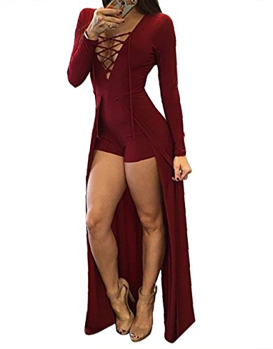 Walant Women Sexy Deep V Neck Lace Up Long Sleeve Bodycon Party Club Dress (440 Club)