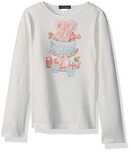 Kate Mack Toddler Girls' Gateau Rose Tee with Cake Motif, Cream, 2T - Kate Mack Girls Clothing